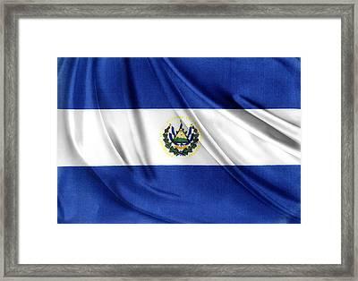 El Salvador Flag Framed Print by Les Cunliffe