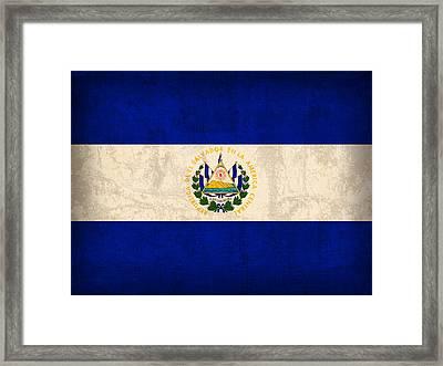 El Salvador Flag Vintage Distressed Finish Framed Print by Design Turnpike