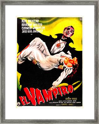 El Vampiro, Spanish Language Poster Framed Print