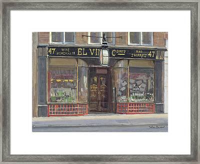 El Vinos, Fleet Street Oil On Canvas Framed Print by Julian Barrow