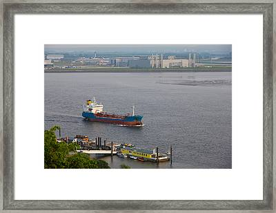 Elbe River And Airbus Factory Framed Print by Panoramic Images