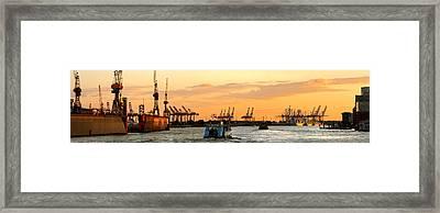 Elbe Sunset Panorama Framed Print