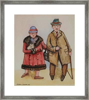 Elderly Couple, 1985 Watercolour On Paper Framed Print