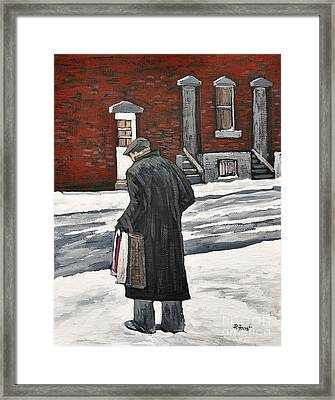 Elderly Gentleman  In Pointe St. Charles Framed Print by Reb Frost