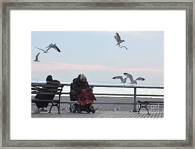 Elderly Lonely Hopeful Framed Print by Olga Gorenshteyn