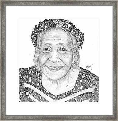 Framed Print featuring the drawing Elderly Marshallese Woman by Lew Davis