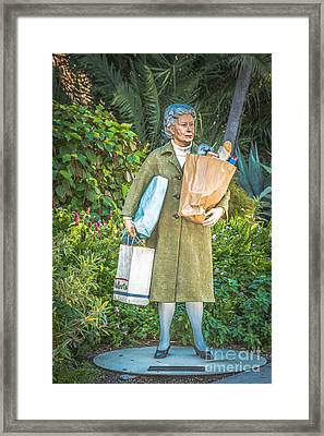 Elderly Shopper Statue Key West - Hdr Style Framed Print