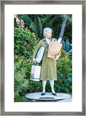 Elderly Shopper Statue Key West Framed Print