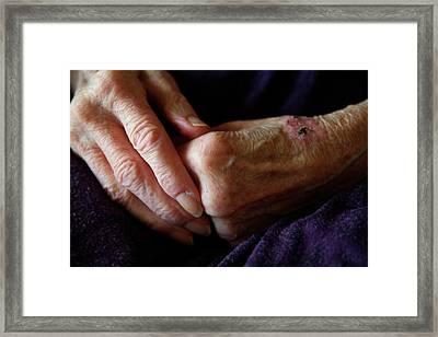 Elderly Woman's Hands Framed Print