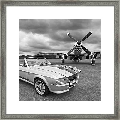 Eleanor Mustang With P51 Black And White Framed Print