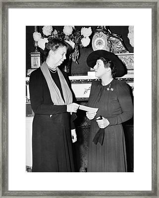 Eleanor Roosevelt & Pearl Buck Framed Print by Underwood Archives