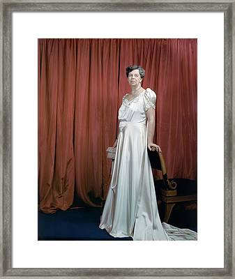 Eleanor Roosevelt In A Rosy-white Gown Framed Print