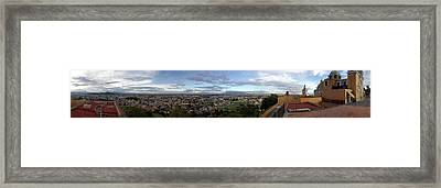 Eleated View Of Cityscape, Cholula Framed Print