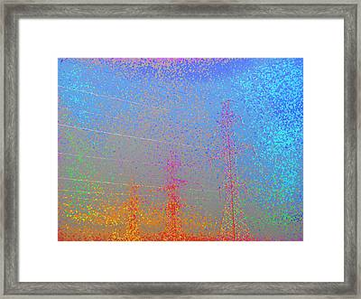 Electic  Power Lines In Fog Ae 2  Framed Print