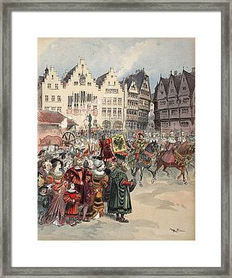 Election To The Empire The Procession Framed Print by Albert Robida