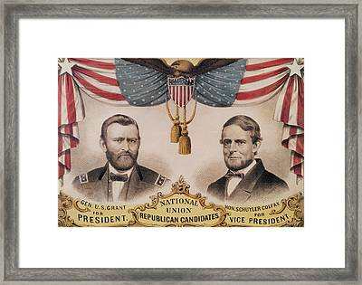 Electoral Poster For The Usa Presidential Election Of 1868 Framed Print by American School