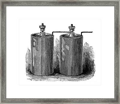 Electric Batteries, 19th Century Framed Print