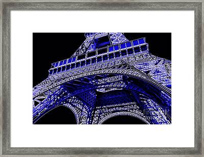Electric Blue Eiffel Tower  Framed Print by Carol Groenen