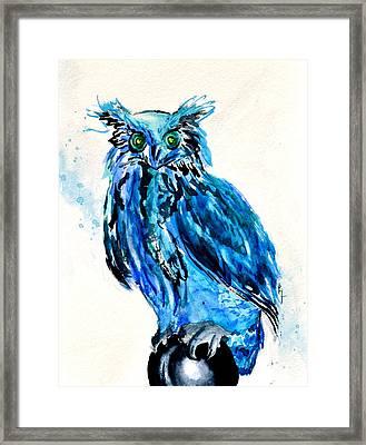 Electric Blue Owl Framed Print by Beverley Harper Tinsley