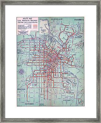 Electric Car And Bus Routes In L.a Framed Print by MotionAge Designs