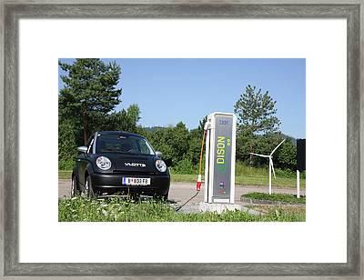 Electric Car And Charger Framed Print by Ibm Research