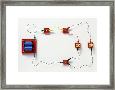 Electric Circuit Split Into Branches Framed Print