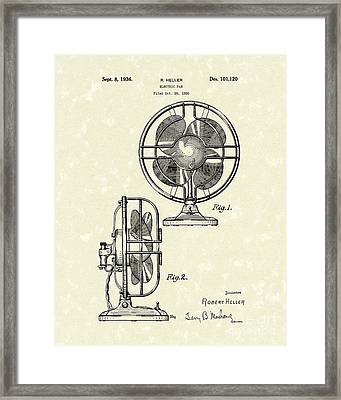 Electric Fan 1936 Patent Art Framed Print by Prior Art Design