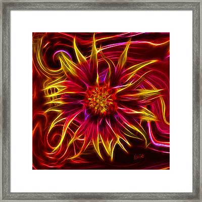 Electric Firewheel Flower Artwork Framed Print by Nikki Marie Smith