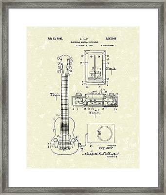 Electric Guitar 1937 Patent Art Framed Print by Prior Art Design