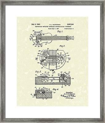 Electric Guitar 1940 Patent Art Framed Print