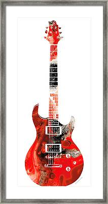 Electric Guitar - Buy Colorful Abstract Musical Instrument Framed Print by Sharon Cummings