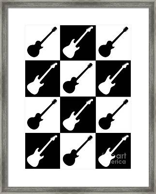 Electric Guitar Checkerboard Framed Print