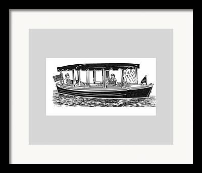 Sailboats In Water Drawings Framed Prints
