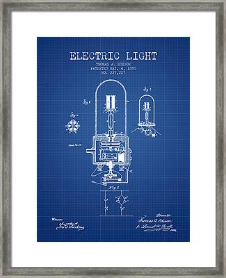Electric Light Patent From 1880 - Blueprint Framed Print by Aged Pixel