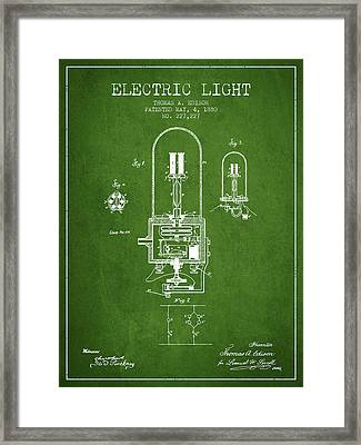 Electric Light Patent From 1880 - Green Framed Print by Aged Pixel