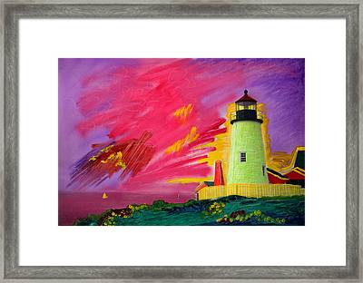 Electric Lighthouse Framed Print by Cindy McIntyre