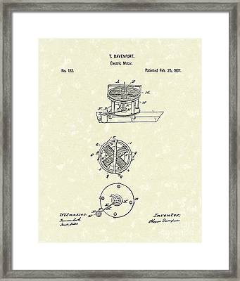 Electric Motor 1837 Patent Art Framed Print