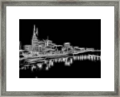 Electric Nashville Skyline At Night Framed Print by Dan Sproul