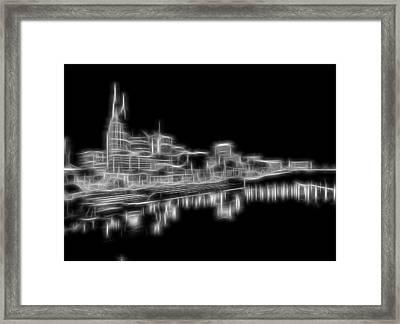 Electric Nashville Skyline At Night Framed Print