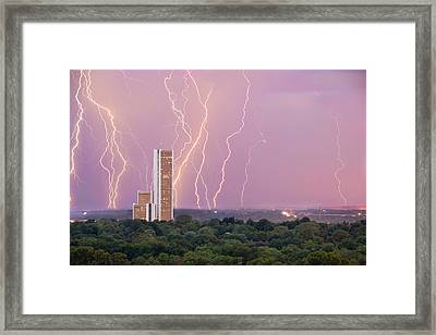 Framed Print featuring the photograph Electric Night - Cityplex Towers - Tulsa Oklahoma by Gregory Ballos