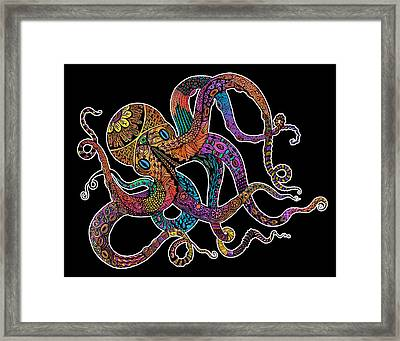 Electric Octopus On Black Framed Print