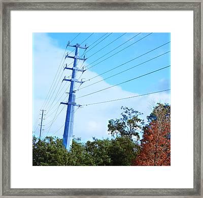 Electric Poles Wild Fall Colors Trees Skyview Sky Bluesky  Decorations Deco Artistic By Navinjoshi   Framed Print