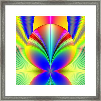Electric Rainbow Orb Fractal Framed Print by Rose Santuci-Sofranko