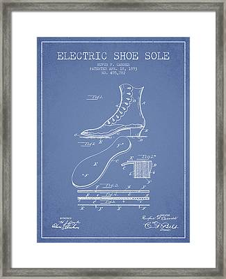 Electric Shoe Sole Patent From 1893 - Light Blue Framed Print by Aged Pixel