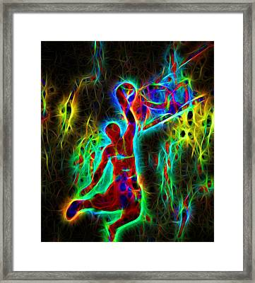 Electric Slam Dunk Basketball Framed Print by Dan Sproul