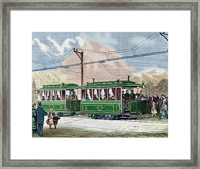Electric Streetcar Framed Print by Prisma Archivo