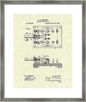 Electric Switch 1893 Patent Art Framed Print