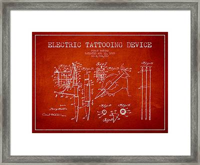 Electric Tattooing Device Patent From 1929 - Red Framed Print