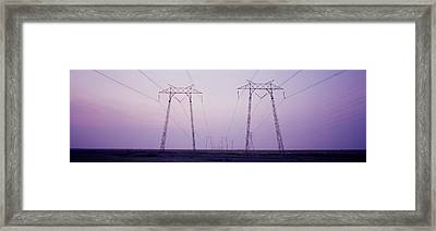 Electric Towers At Sunset, California Framed Print