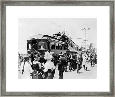 Electric Trains Collision Framed Print by Underwood Archives